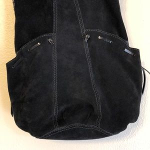 Lucky Brand Bags - Lucky Brand black suede leather bucket bag